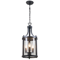 DVI Lighting Niagara 3 Light Outdoor Hanging Lantern in Hammered Black with Clear Glass DVP4475HB-CL