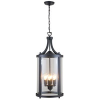 DVI Lighting Niagara 6 Light Outdoor Hanging Lantern in Hammered Black with Clear Glass DVP4476HB-CL