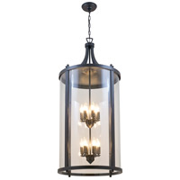 DVI Lighting Niagara 12 Light Outdoor Hanging Lantern in Hammered Black with Clear Glass DVP4477HB-CL