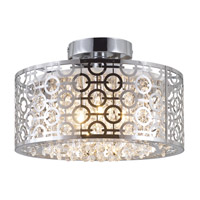 DVI Lighting Eclipse 3 Light Semi Flush Mount in Chrome with Crystal Droplets DVP5833CH-CRY