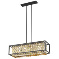 DVI DVP6302CPG/GR-CRY Amethyst 6 Light 36 inch Champagne Gold and Graphite Linear Pendant Ceiling Light
