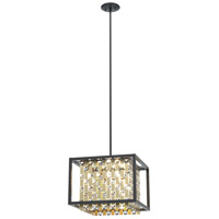 DVI DVP6305CPG/GR-CRY Amethyst 4 Light 16 inch Champagne Gold and Graphite Pendant Ceiling Light