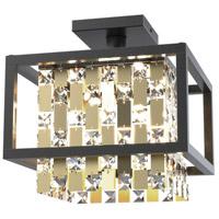 DVI DVP6311CPG/GR-CRY Amethyst 4 Light 12 inch Champagne Gold and Graphite Semi Flush Mount Ceiling Light