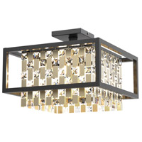 DVI DVP6312CPG/GR-CRY Amethyst 4 Light 16 inch Champagne Gold and Graphite Semi Flush Mount Ceiling Light