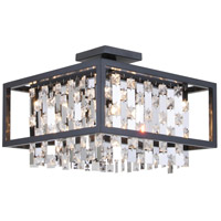 DVI DVP6312GR-CRY Amethyst 4 Light 16 inch Graphite Semi Flush Mount Ceiling Light