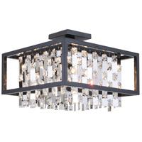 DVI DVP6312GR-CRY Amethyst 4 Light 16 inch Graphite Semi Flush Mount Ceiling Light