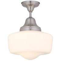 DVI Lighting Schoolhouse 1 Light Semi Flush Mount in Satin Nickel with Opal Glass DVP7511SN