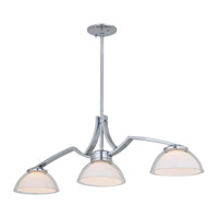 DVI Lighting Hyperion 3 Light Linear Pendant in Chrome with Clear Outer Glass and Inner Half Opal Glass DVP8102CH-OP