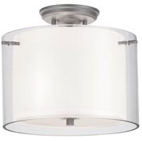 Essex 2 Light 12 inch Buffed Nickel Semi Flush Mount Ceiling Light in Opal Glass
