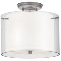 DVI DVP9013BN-OP Essex 2 Light 12 inch Buffed Nickel Semi Flush Mount Ceiling Light in Opal Glass