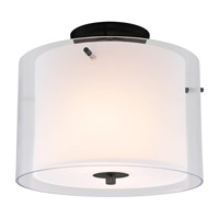Essex 2 Light 12 inch Graphite Semi Flush Mount Ceiling Light in Opal Glass