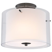 Essex 2 Light 12 inch Oil Rubbed Bronze Semi Flush Mount Ceiling Light in Opal Glass