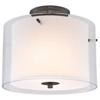 DVI DVP9013ORB-OP Essex 2 Light 12 inch Oil Rubbed Bronze Semi Flush Mount Ceiling Light in Opal Glass
