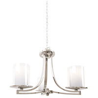 Essex 3 Light 20 inch Buffed Nickel Semi Flush Mount Chandelier Ceiling Light in Opal Glass