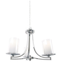 Essex 3 Light 20 inch Chrome Semi Flush Mount Chandelier Ceiling Light in Opal Glass