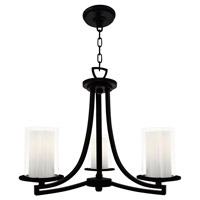 Essex 3 Light 20 inch Graphite Semi Flush Mount Chandelier Ceiling Light in Opal Glass