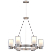 Essex 6 Light 27 inch Buffed Nickel Chandelier Ceiling Light in Opal Glass