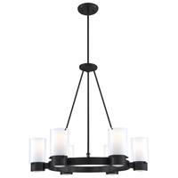 Essex 6 Light 27 inch Graphite Chandelier Ceiling Light in Opal Glass
