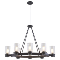 DVI Lighting Essex Special Edition 8 Light Chandelier in Graphite with Ribbed Restoration Glass DVP9028GR-RI