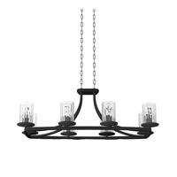 DVI Lighting Essex Special Edition 8 Light Linear Chandelier in Graphite with Ribbed Restoration Glass DVP9032GR-RI