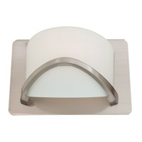 DVI Lighting Solstice 1 Light Wall Sconce in Satin Nickel with Half Opal Glass DVP0501SN-OP