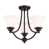DVI Lighting Valletta 3 Light Semi Flush Mount in Mocha with Half Opal Glass DVP0803MO-OP