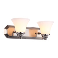 DVI Lighting Valletta 2 Light Bathroom Vanity in Satin Nickel with Half Opal Glass DVP0822SN-OP