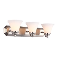 DVI Lighting Valletta 3 Light Bathroom Vanity in Satin Nickel with Half Opal Glass DVP0843SN-OP