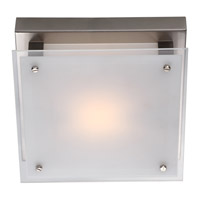 DVI Lighting Helios 1 Light Flush Mount in Buffed Nickel with Silk Screened White Glass DVP10331BN-SSW