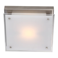 DVI Lighting Helios 1 Light Flush Mount in Buffed Nickel with Silk Screened White Glass DVP10341BN-SSW