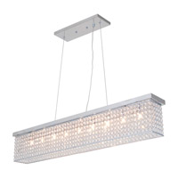 DVI Lighting Helsinki 9 Light Linear Pendant in Chrome with Clear Crystals DVP10704CH-CRY