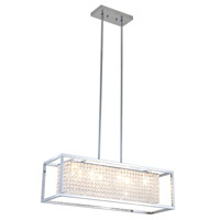 DVI Lighting Shadow Box 8 Light Linear Pendant in Chrome with Clear Optic Glass DVP13102CH-CRY