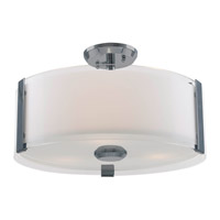 DVI Lighting Zurich 3 Light Semi Flush Mount in Black Chrome with Silk Screened Opal Glass DVP14511BC-SSOP