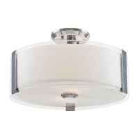 DVI Lighting Zurich 3 Light Semi Flush Mount in Chrome with Silk Screened Opal Glass DVP14511CH-SSOP
