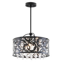 DVI Lighting Woodstock 3 Light Pendant in Ebony with Clear Crystal Glass DVP14704EB-CRY