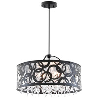 DVI Lighting Woodstock 6 Light Pendant in Ebony with Clear Crystal Glass DVP14706EB-CRY