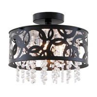 DVI Lighting Woodstock 3 Light Semi Flush Mount in Ebony with Clear Crystal Glass DVP14711EB-CRY