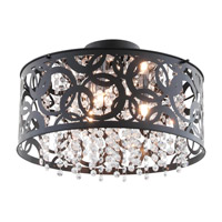 DVI Lighting Woodstock 3 Light Semi Flush Mount in Ebony with Clear Crystal Glass DVP14712EB-CRY