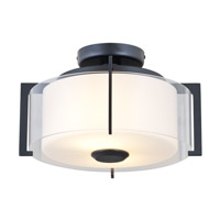 DVI Lighting Princeton 2 Light Semi Flush Mount in Graphite with Opal Glass DVP2111GR-OP