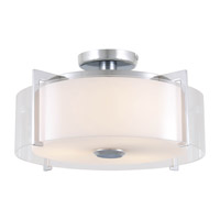 DVI Lighting Princeton 3 Light Semi Flush Mount in Chrome with Opal Glass DVP2112CH-OP