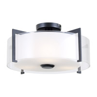 DVI Lighting Princeton 3 Light Semi Flush Mount in Graphite with Opal Glass DVP2112GR-OP
