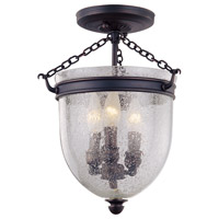 DVI Lighting Escarpment 3 Light Semi Flush Mount in Oil Rubbed Bronze with Clear Seedy Glass DVP3004ORB