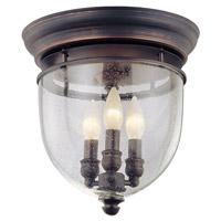 DVI Lighting Escarpment 3 Light Flush Mount in Oil Rubbed Bronze with Clear Seedy Glass DVP3032ORB