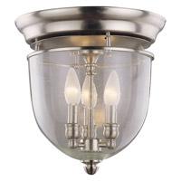 DVI Lighting Escarpment 3 Light Flush Mount in Satin Nickel with Clear Seedy Glass DVP3032SN