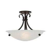Georgian 3 Light 16 inch Mocha Semi Flush Mount Ceiling Light