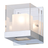 DVI Lighting Narvik 1 Light Wall Sconce in Chrome with Half Opal Glass And Clear Acrylic Diffuser DVP3902CH-OP