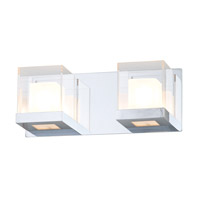 DVI Lighting Narvik 2 Light Bathroom Vanity in Chrome with Half Opal Glass And Clear Acrylic Diffuser DVP3922CH-OP