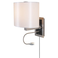 DVI Lighting Esplanade 1 Light Wall Lamp in Buffed Nickel with White Taffeta Shade DVP4116BN-WT
