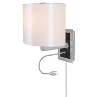 DVI Lighting Esplanade 1 Light Wall Lamp in Chrome Nickel with White Taffeta Shade DVP4116CH-WT