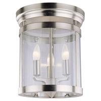 DVI Lighting Niagara 3 Light Flush Mount in Satin Nickel with Clear Glass DVP4432SN